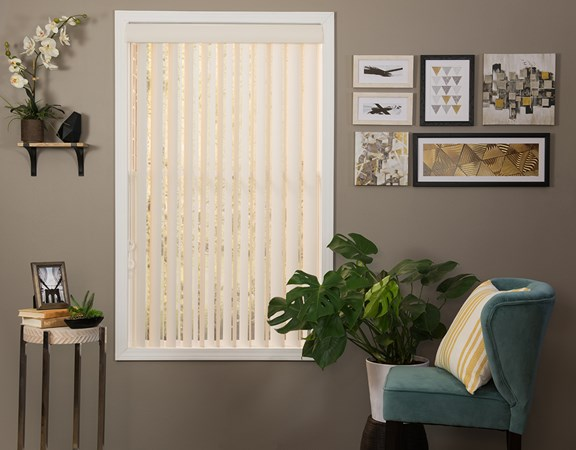 Just Blinds Standard Vinyl Vertical Light Weight Material color Ivory