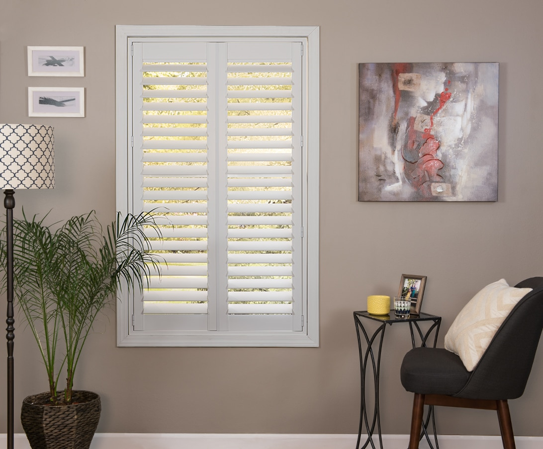 Faux Wood Shutter In The Color White