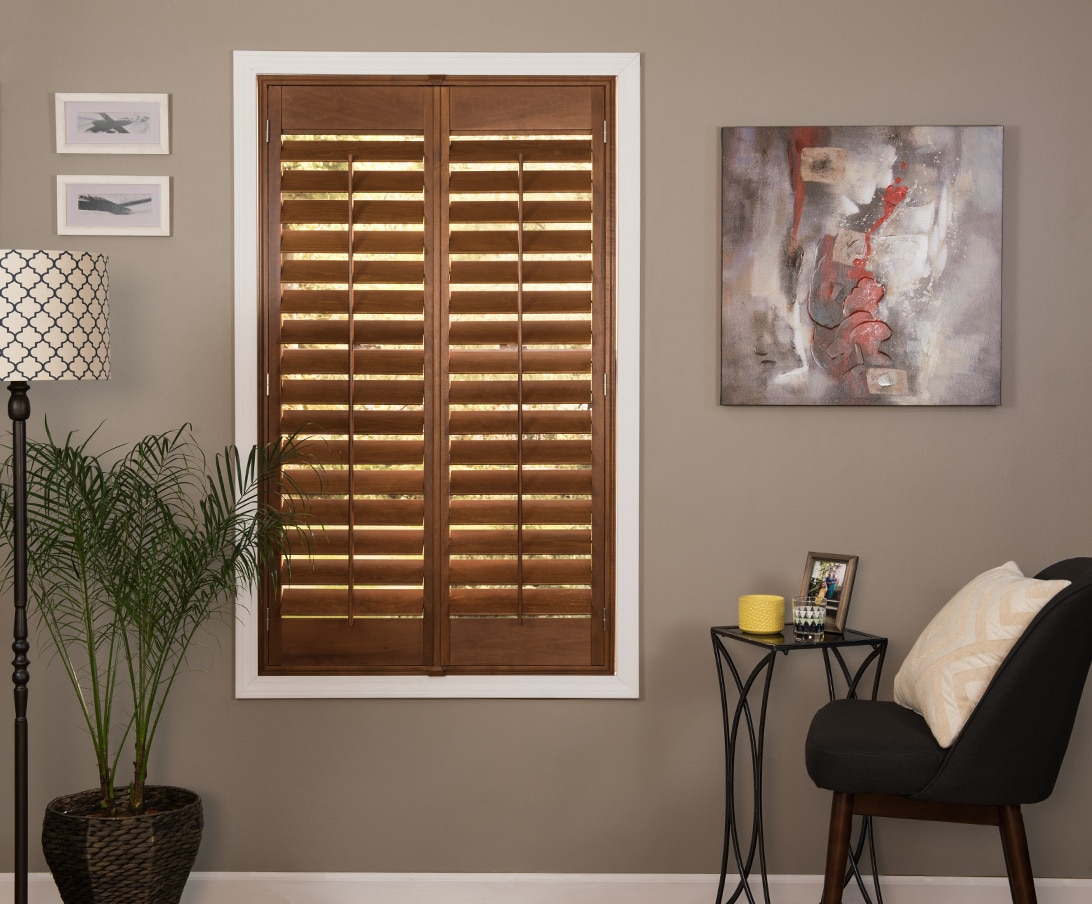 Wood Shutter In The Color Option Pecan With The Inside L Frame