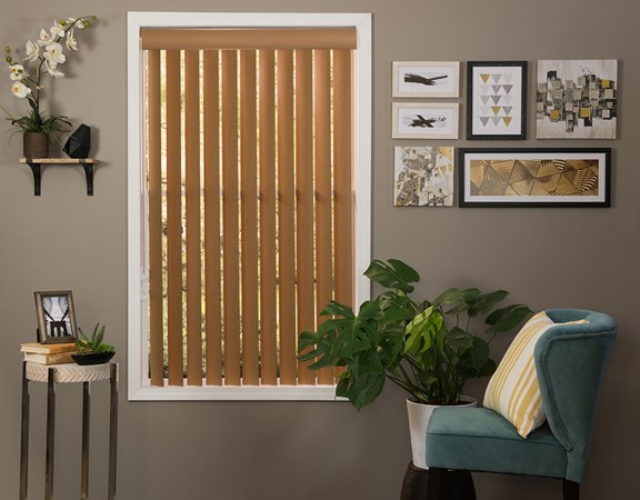 Faux wood vinyl vertical blind